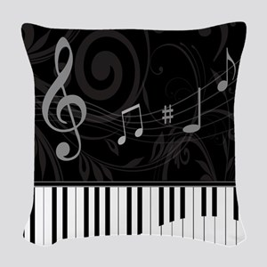 Whimsical Piano and musical notes Woven Throw Pill